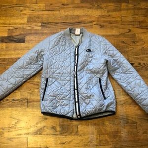 Light blue nike quilted bomber jacket